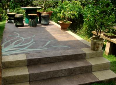 Elite Crete stairs and landing in a garden