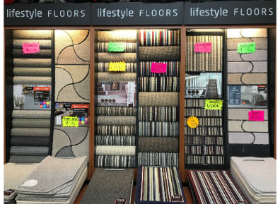 Selection of carpets in Yorkshire Carpets Showroom Morley